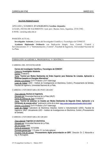 EVANGELISTA Carolina Alejandra LUGAR y FECHA DE ...