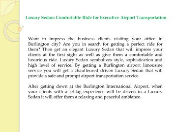 Luxury Sedan Comfortable Ride for Executive Airport Transportation