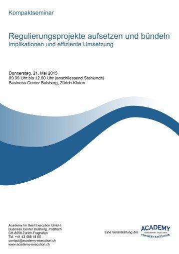 """Programm Kompaktseminar """"Regulierungsprojekte aufsetzen und bündeln"""""""
