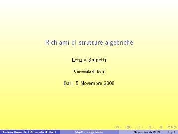 Richiami di strutture algebriche