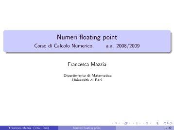 Numeri floating point - Dipartimento di Matematica