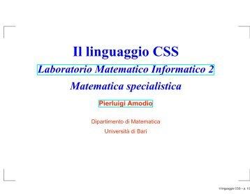 Il linguaggio CSS - Dipartimento di Matematica