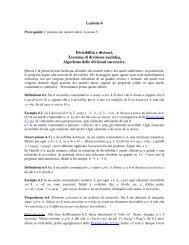 Lezione 6 Divisibilità e divisori. Teorema di divisione euclidea ...