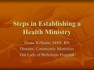 steps congregations can take to build a health ministry - Kentucky ...