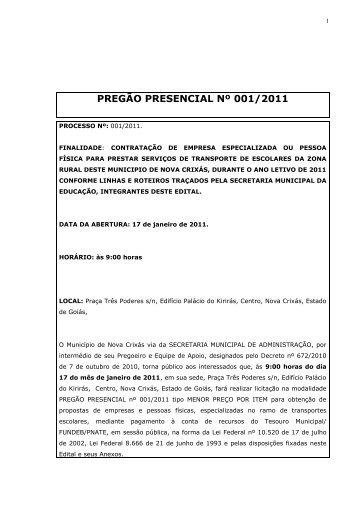 pregão presencial nº 001/2011