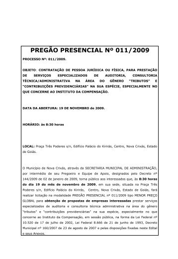 PREGÃO PRESENCIAL Nº 011/2009