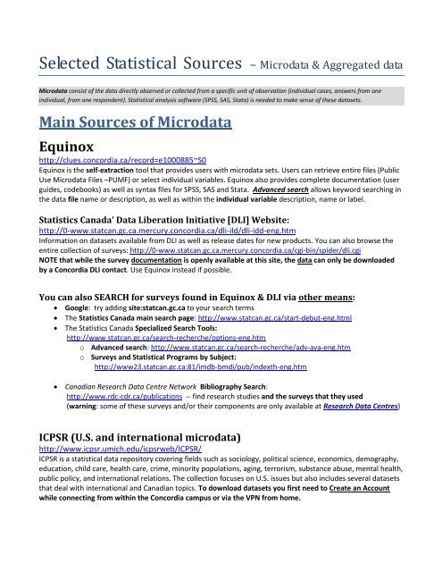 Selected Statistical Sources - Concordia Libraries