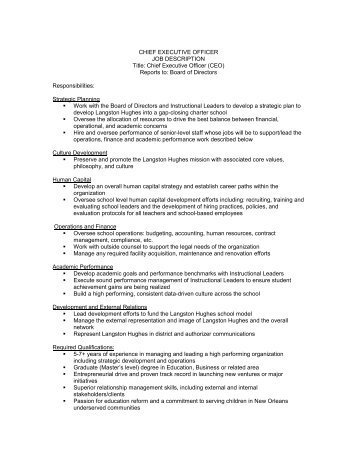 CHIEF EXECUTIVE OFFICER JOB DESCRIPTION Title: Chief .