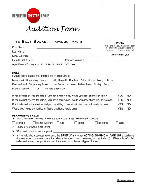 Audition Form - Beenleigh Theatre Group