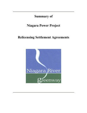 Niagara Power Project Relicensing Settlement Agreements