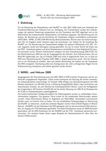 1 Einleitung 2 WRRL- und Helcom 2009 - IfAÖ