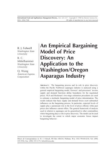 An Empirical Bargaining Model of Price Discovery ... - AgEcon Search