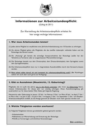 Informationen zur Arbeitsstundenpflicht - RFZV Ellerbachtal e.V.