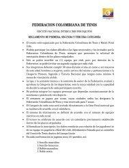 FEDERACION COLOMBIANA DE TENIS - Federación Colombiana ...
