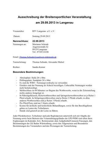 Ausschreibung der Breitensportlichen Veranstaltung am 29.09.2013 ...