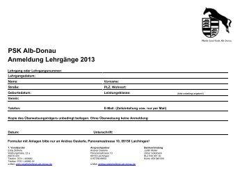 PSK Alb-Donau Anmeldung Lehrgänge 2013 - Pferdesportkreis Alb ...