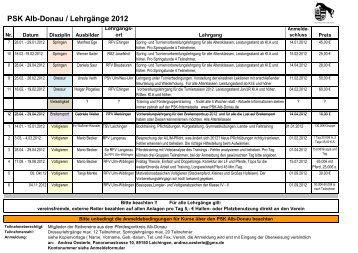 Lehrgänge 2012 - Gesamt Aufstellung - Pferdesportkreis Alb-Donau
