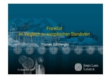 Frankfurt im Vergleich zu europäischen Standorten