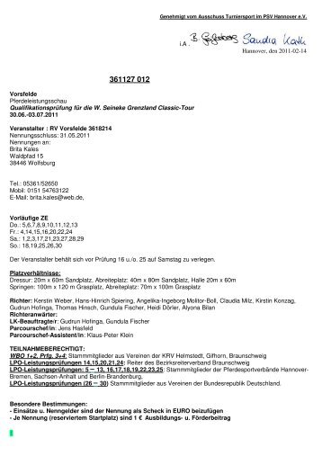 Ausschreibung - RFV Vorsfelde