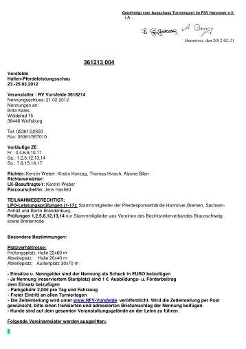 13004 Vorsfelde Ausschreibung - RFV Vorsfelde