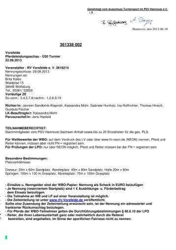 38002 Vorsfelde Ü30 Ausschreibung - RFV Vorsfelde