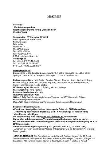 05.07.2009 Veranstalter : RV Vorsfelde 3618 - RFV Vorsfelde