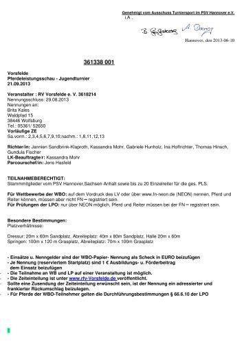 38001 Vorsfelde Jugend Ausschreibung - RFV Vorsfelde