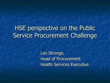 HSE perspective on the Public Service Procurement Challenge (0.7 ...