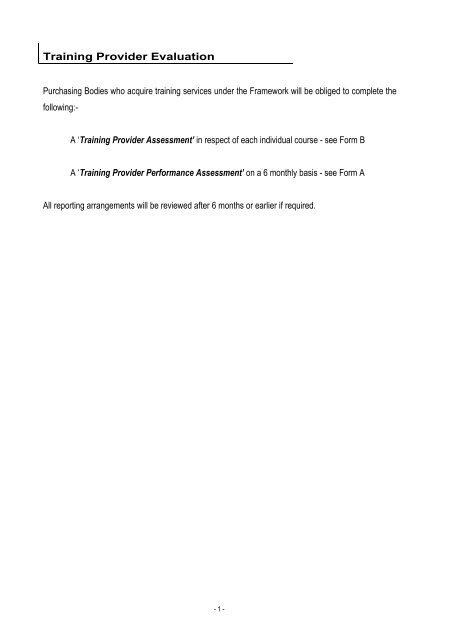 Template Training Provider Assessment Forms A B National