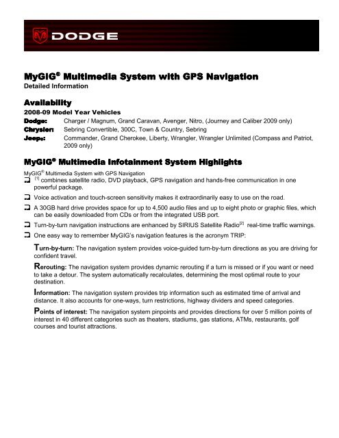 Mygig® Multimedia System with GPS Navigation Multimedia - Dodge