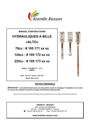 HYDRAULIQUES A BILLE «ALTO» 79cc : # 105 ... - Kremlin Rexson
