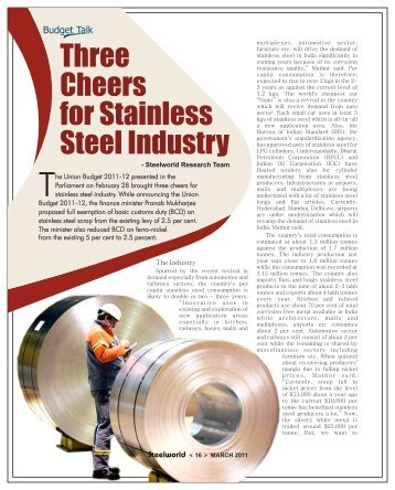 Three Cheers for Stainless Steel Industry - Steelworld