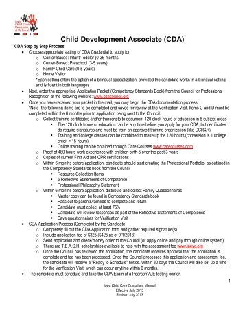 Child Development Associate (CDA) - Iowa Child Care Resource ...
