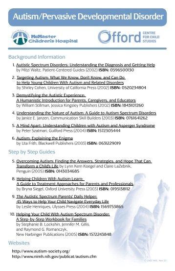 Autism/Pervasive Developmental Disorder - Community Education ...