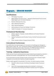 Graham Mahony - Major Training Services