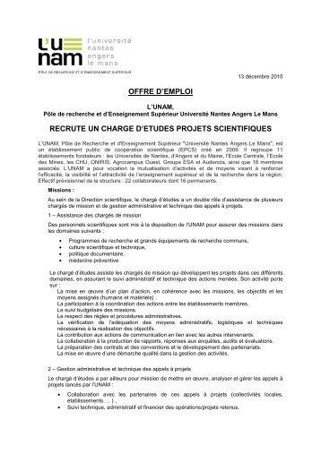 offre d'emploi recrute un charge d'etudes projets ... - L'UNAM