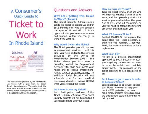 TICKET TO WORK BROCHURE - Rhode Island Disability Law Center