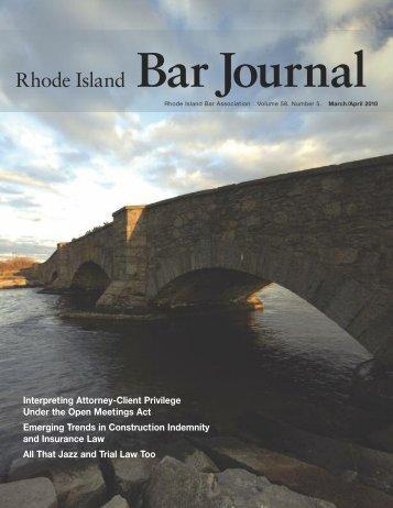Bar Journal Volume 58 Number 5 March/April 2010 - Rhode Island ...