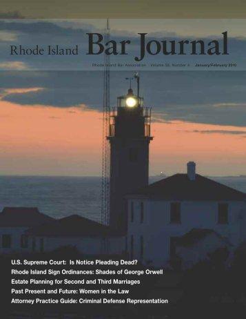 Bar Journal Volume 58 Number 4 January/February 2010