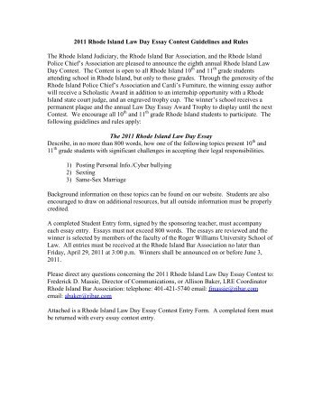 2010 Rhode Island Law Day Essay Contest Guidelines and Rules