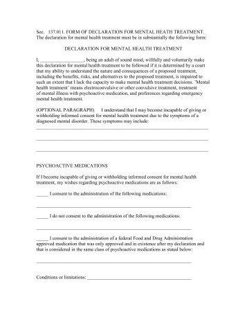 Texas Psychiatric Advance Directive Form