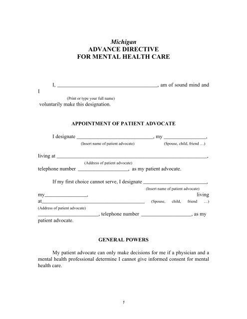 Michigan Advance Directive for Mental Health Care Form