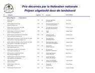 Prix décernés par la fédération nationale Prijzen uitgeloofd door de ...