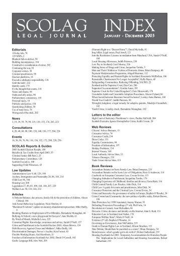 SCOLAG Index 2003 - Scottish Legal Action Group