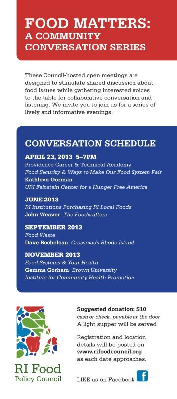 FOOD MATTERS: - Rhode Island Food Policy Council