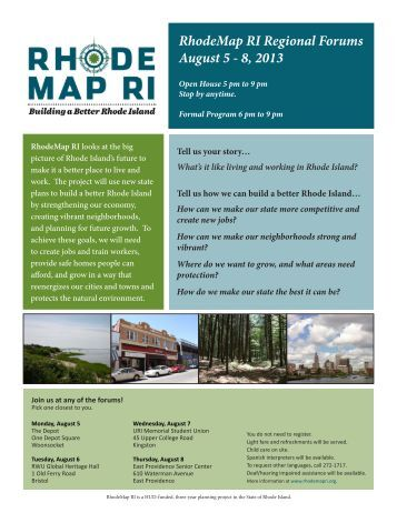 RhodeMap RI Regional Forums August 5 - 8, 2013 - Rhode Island Food ...