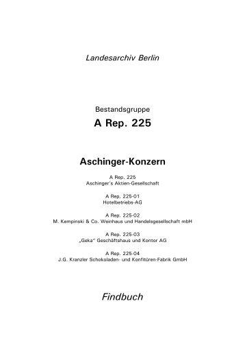 A Rep. 225 Aschinger-Konzern - Landesarchiv Berlin