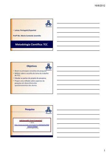 Metodologia Científica: TCC