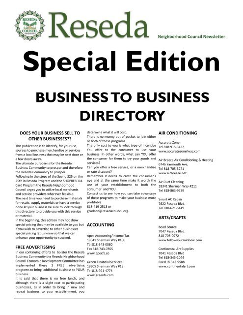 business to business directory - Reseda