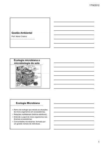Gestão Ambiental Ecologia microbiana e microbiologia do solo ...